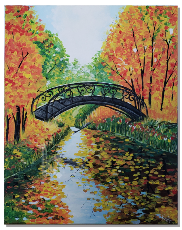 "Acrylic Painting ""The Colorful Fall"", Autumn Landscape, Creek Bridge, great for accent, home decor, Living Room Decor, Original"